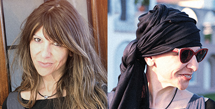 Before and after image of Milena with hair and with no hair wearing scarf